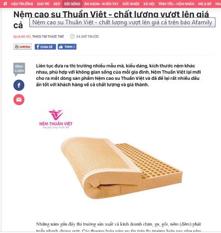 Báo chí nói gì về nệm Thuần Việt